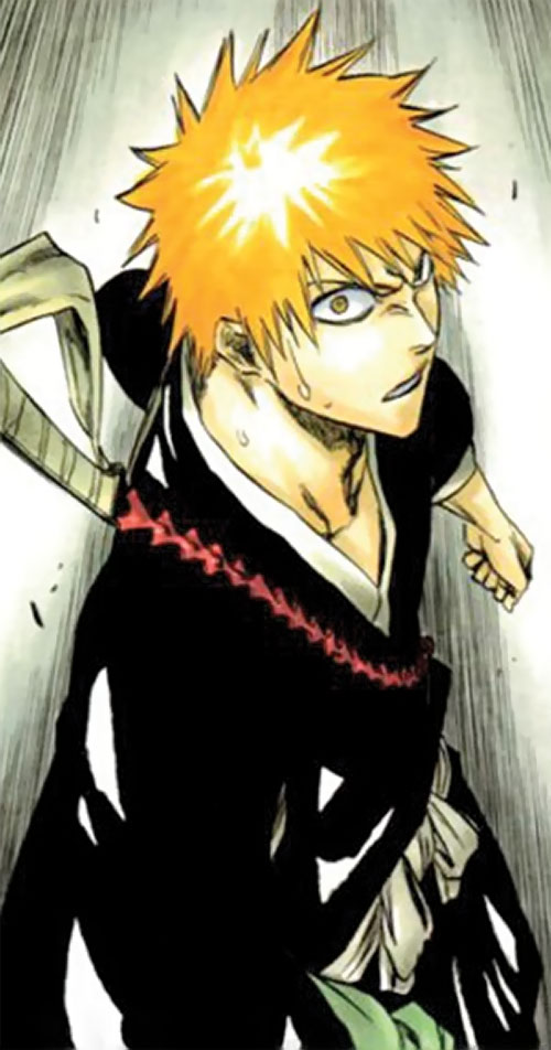 Ichigo Kurosaki from the Bleach manga sweaty high angle shot