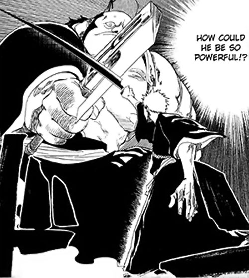 Ichigo Kurosaki from the Bleach manga fighting a giant