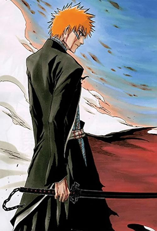 Ichigo Kurosaki from the Bleach manga in the wind