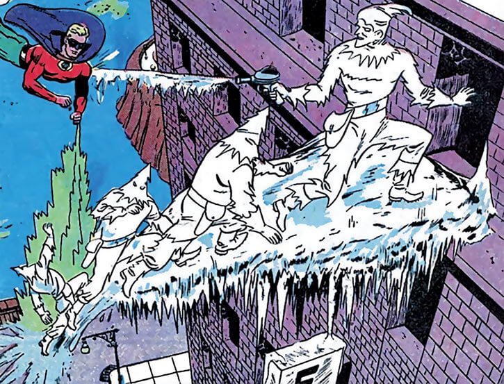 Icicle (Joar Makent) and his henchmen chased by Green Lantern Alan Scott