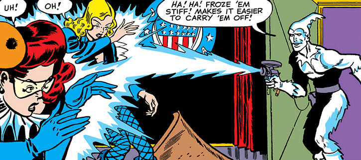 Icicle (Joar Makent) puts the Black Canary and the Harlequin on ice