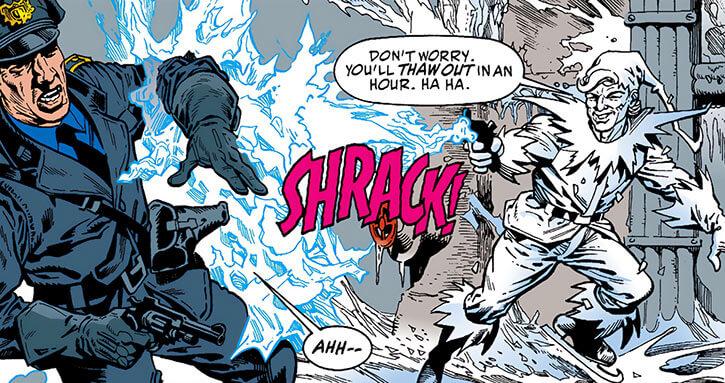 Icicle (Joar Makent) shoots a cop (DC Comics)
