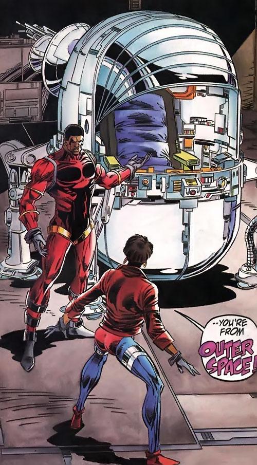 Icon (Milestone comics) shows his spaceship to Rocket