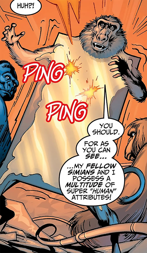 Igor the baboon (Super-Apes of the Red Ghost) (Marvel Comics) turning into a metal plate