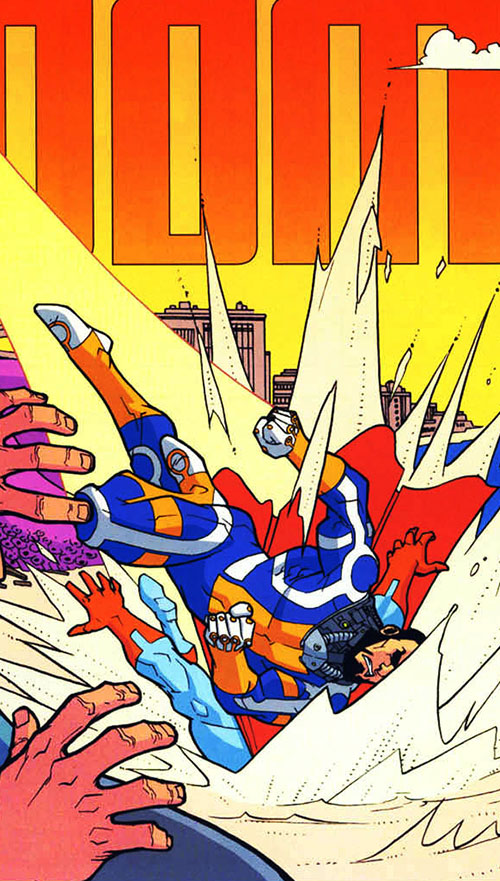 Immortal of the Guardians of the Globe (Invincible comics) body-slamming Omni-Man