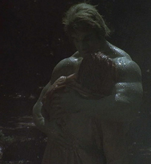 Hulk (Lou Ferrigno / Bill Bixby TV show) - Hulk hugging a woman in the rain