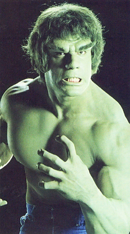 Lou Ferrigno as the Hulk, closeup