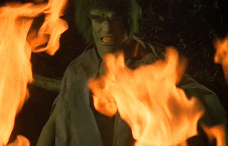The Incredible Hulk (Lou Ferrigno) amidst flame