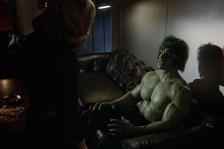 The Incredible Hulk (Lou Ferrigno) sitting on a couch