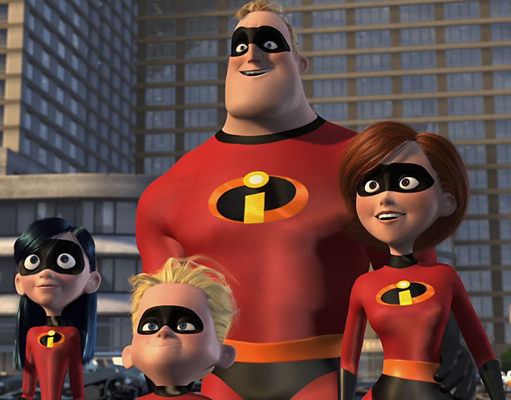 The Parr family as the Incredibles