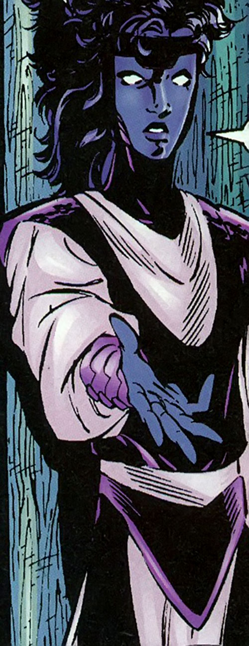 Indigo of the Sovereign 7 (DC Comics) in a white and purple outfit
