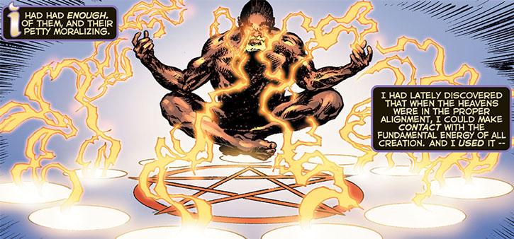 The Infidel meditates while emitting energy