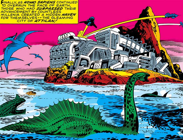 Inhumans (Marvel Comics) ancient history - Classic Kirby Attilan with dinosaurs