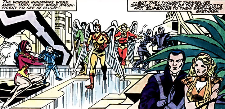 Inhumans (Marvel Comics) ancient history - Bird people in Attilan