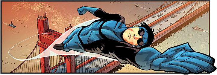 Invincible (R. Kirkman skybound comics) flying off a bridge
