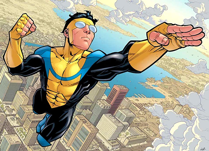 Invincible (Mark Grayson) flies above the city