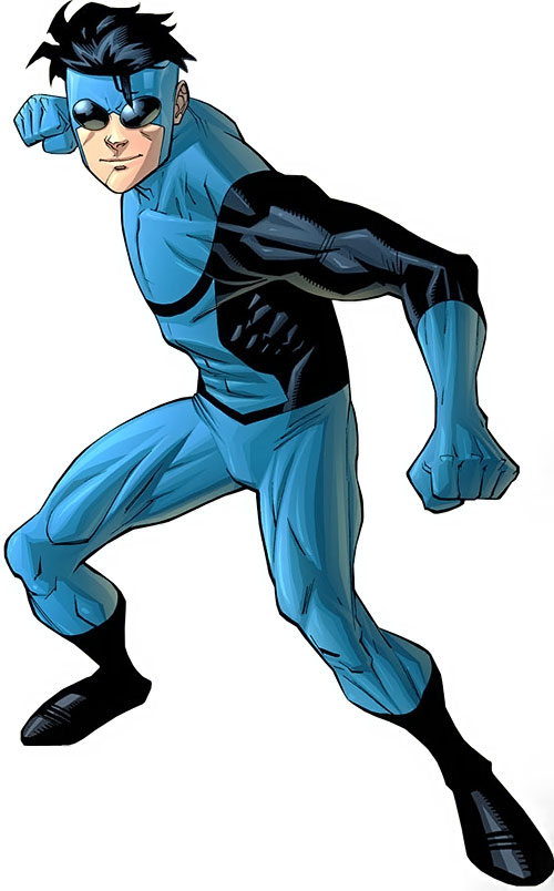 Invincible (Image Comics) in the black and blue costume, about to throw a punch