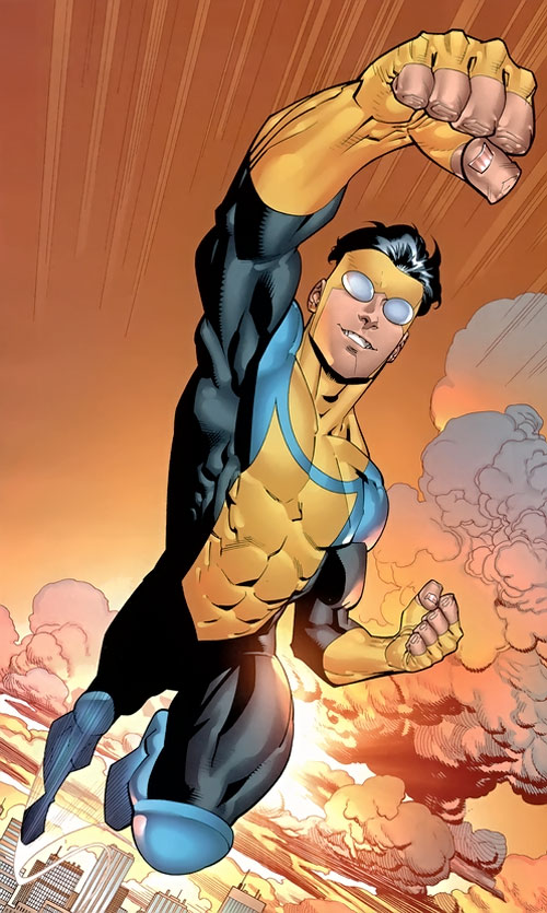 Invincible (Image Comics) flying in an ochre sky