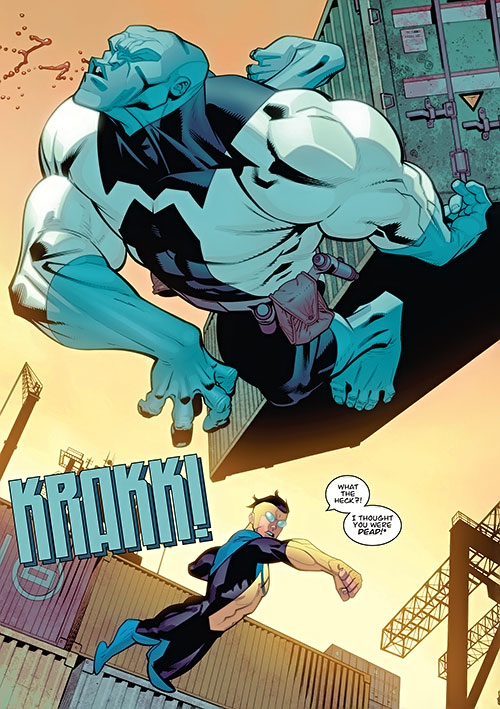 Invincible (Image Comics) punching one of the Mauler twins