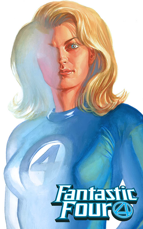Invisible Woman (Marvel Comics) (Fantastic Four) fading. Painting by Alex Ross
