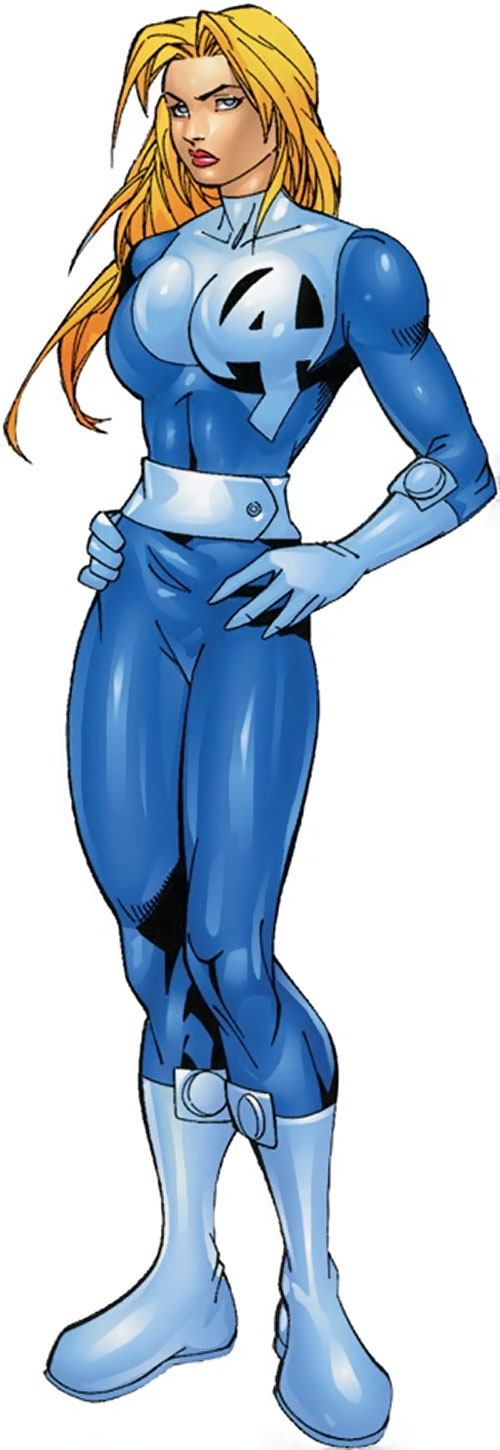 Modern Invisible Woman of the Fantastic Four in a light blue costume