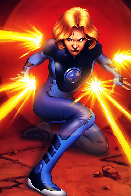 Ultimate Invisible Woman (Ultimate Marvel Comics) blocking energy blasts