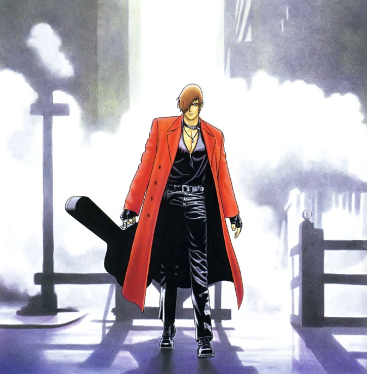 Iori carries his guitar in the city at night