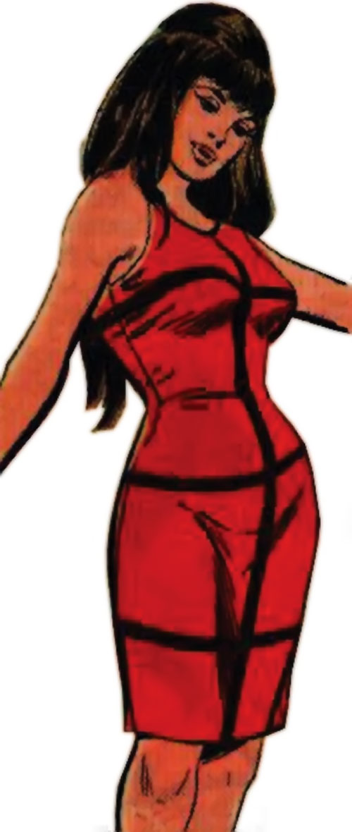 Irena Dubaya (Sarge Steel enemy) (Charlton Comics) in a tight red dress