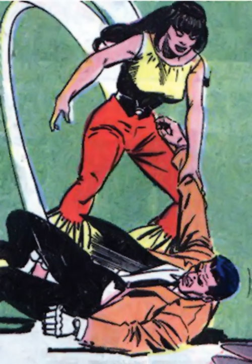 Irena Dubaya (Sarge Steel enemy) (Charlton Comics) doing judo on the man with the iron fist