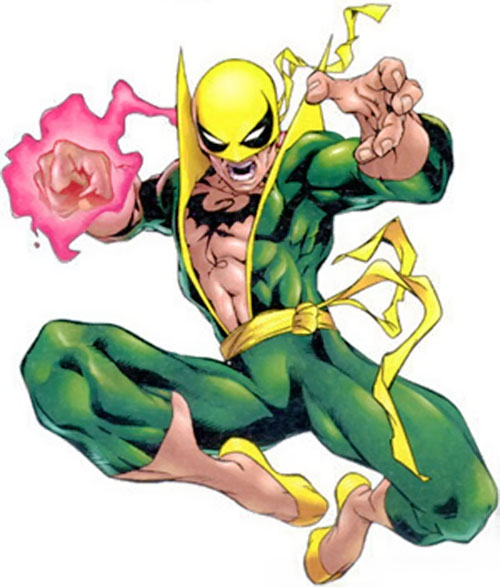 Iron Fist (Marvel Comics) leaping and about to strike