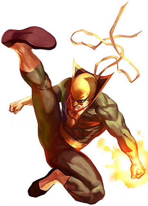 Iron Fist (Marvel Comics) doing a leaping kick
