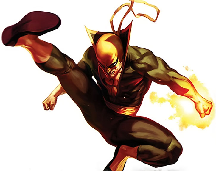 Iron Fist (Danny Ran-K'ai) does a flying kick