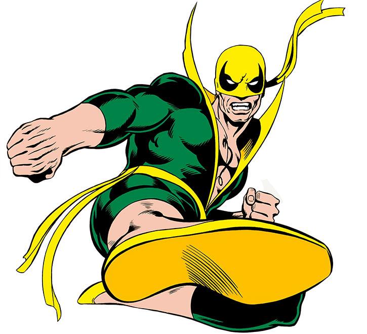 Iron Fist (Danny Ran-K'ai) does a jumping kick