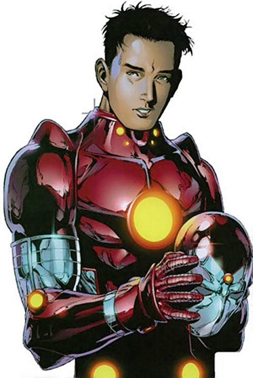 Iron Lad of the Young Avengers (Marvel Comics) taking his helmet off