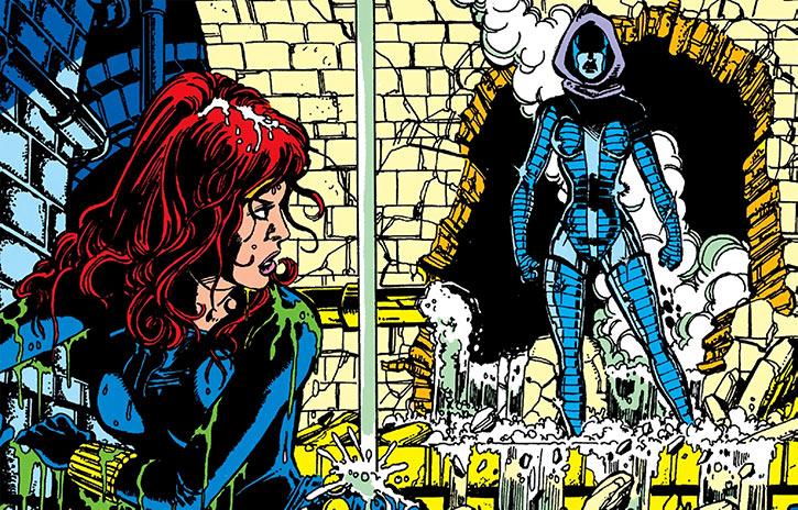 Iron Maiden (Melina Vostokovna) stalks the Black Widow in the sewers (Marvel Comics)