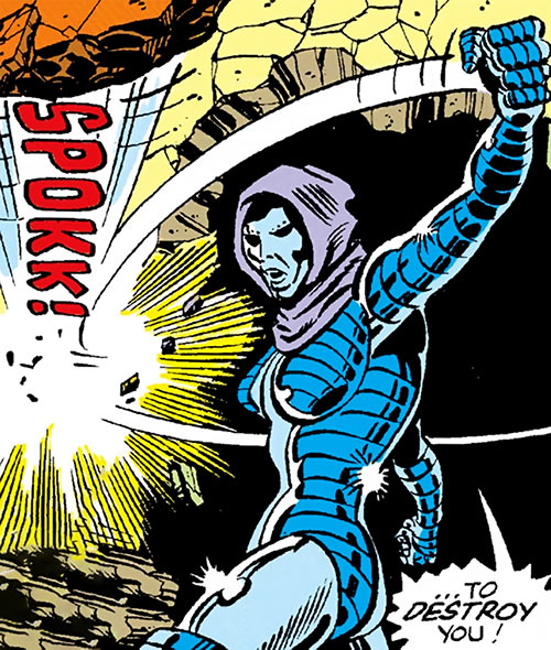 Iron Maiden (Marvel Comics) backhands a stone to use as a projectile