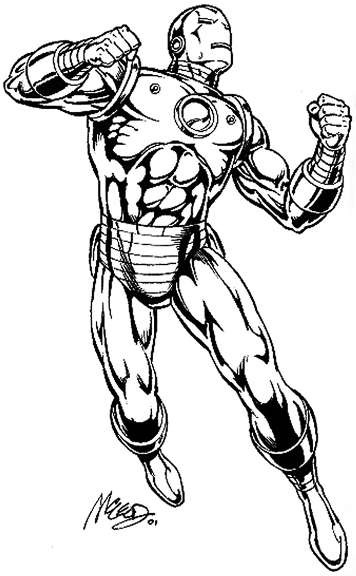 "Iron Man ""Golden Avenger"" suit sketch by Bob McLeod"