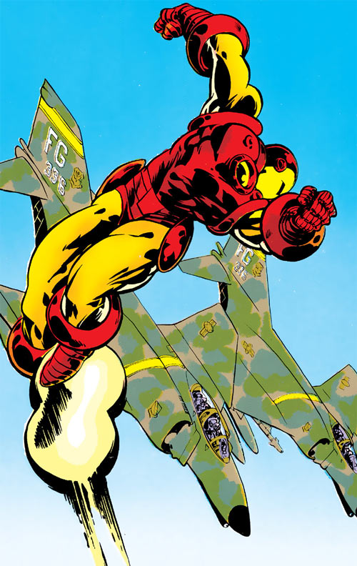 Iron Man Golden Avenger armor (Marvel Comics) flying with two jet fighters