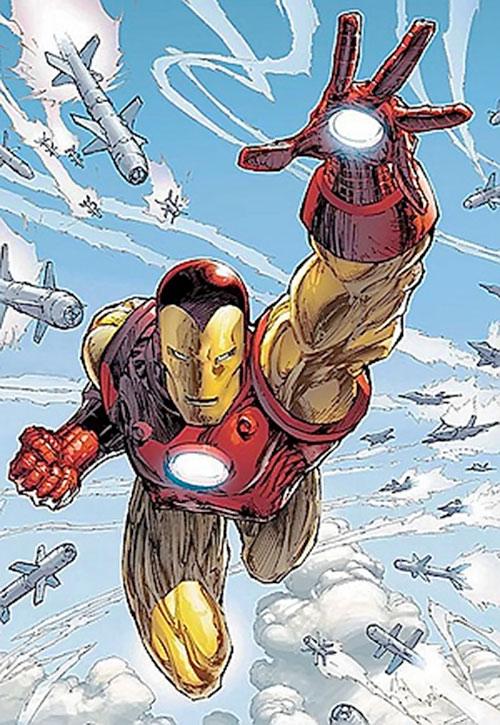 Iron Man Golden Avenger armor (Marvel Comics) hunted by missiles