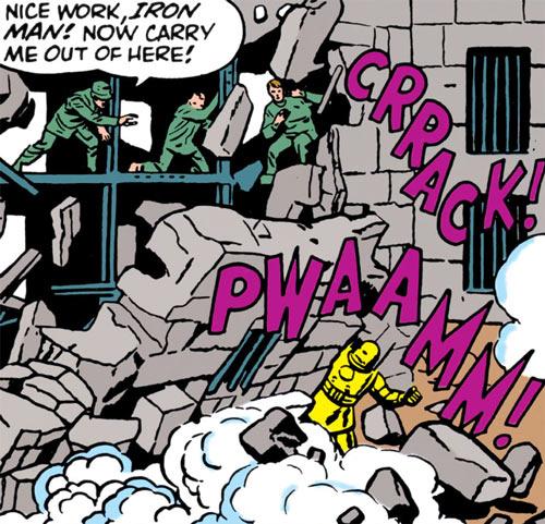 Iron Man (Golden Armour) wrecking a prison wall