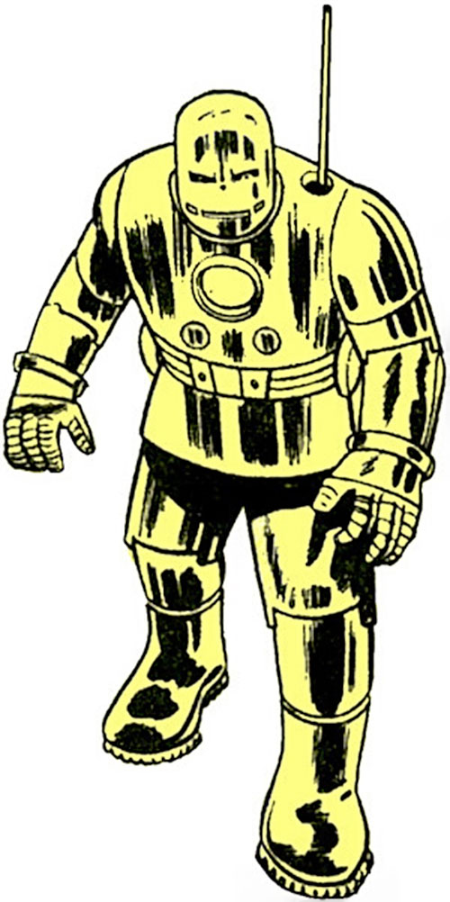 Iron Man early golden Armor suit - vintage art