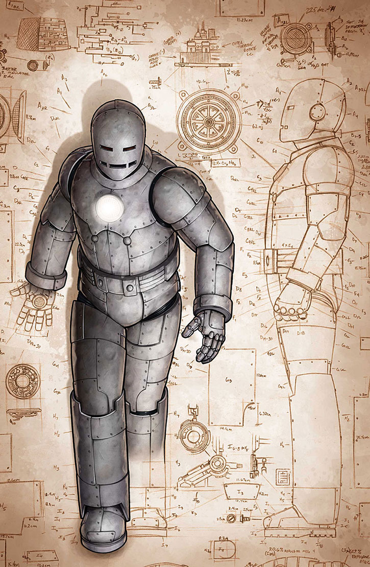 Art and schematics for the very first Iron Man suit
