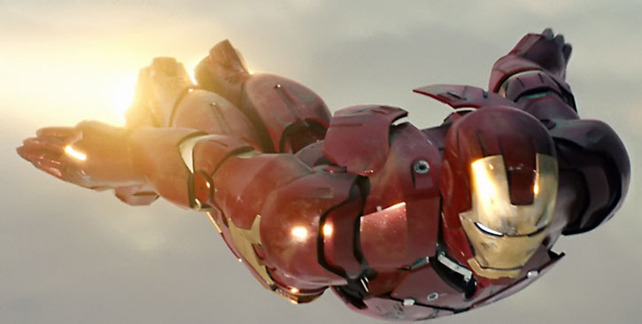 Tony Stark (Robert Downey Jr.) flying an Iron Man suit