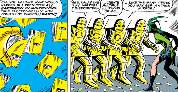 1960s Iron Man golden armour, mirror images, Kala
