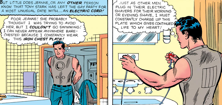 Iron Man (Tony Stark) (earliest 1960s) recharging chestplate in bathroom