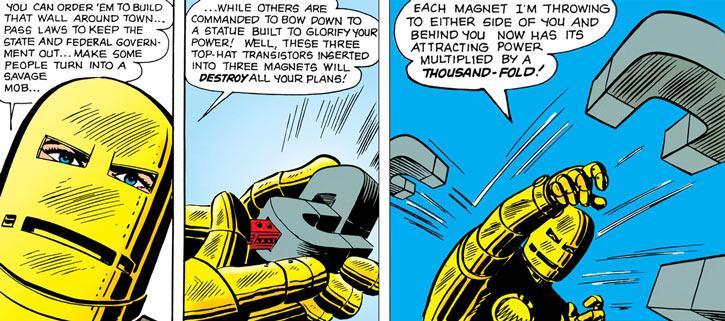 Iron Man (Marvel Comics) (1960s golden armor) throwing magnets