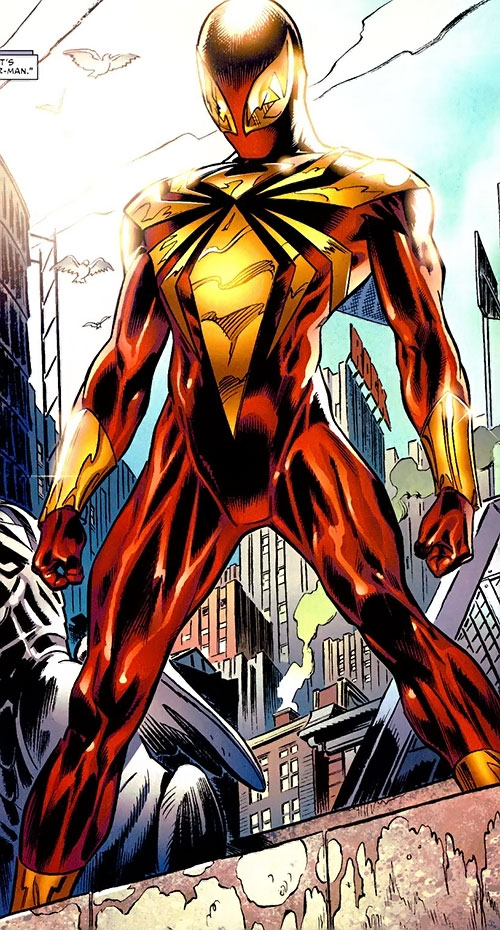 """Iron Spider"" Spider-Man armor by Stark (Marvel Comics) on a rooftop"