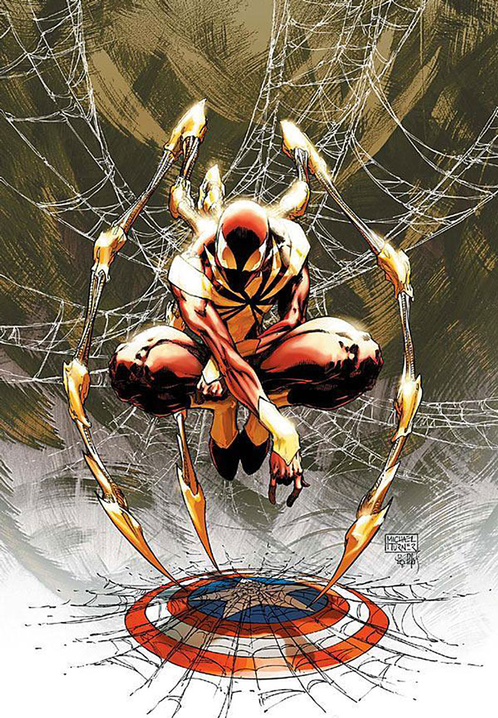 "Spider-Man in the Stark ""Iron Spider"" armor, sitting in a web over Captain America's shield"