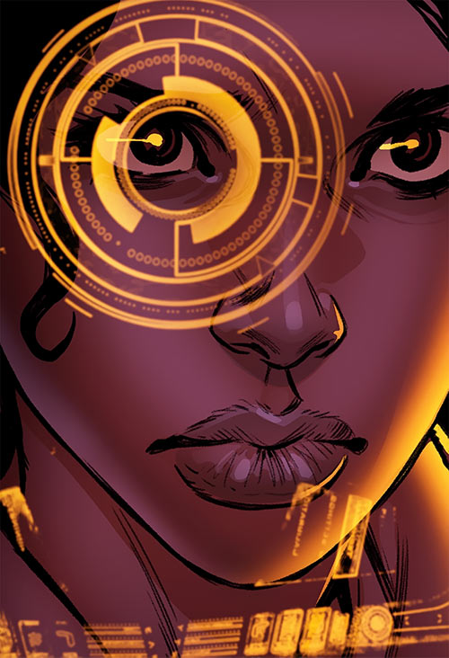 Ironheart - Riri Williams - Marvel Comics - Portrait with helmet HUD