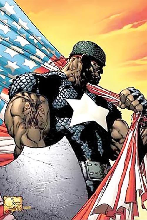 Captain (Isaiah Bradley) imaginary az version with blank shield and flag